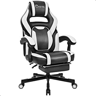 BASETBL Chaise Gaming, Fauteuil Gamer, Chaise de Course Ergonomique, Fauteuil PC Professionnel, Dossier Inclinable, avec R...