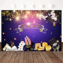Mehofoto Magic Birthday Backdrops Magic Show Birthday Party Photography Background 7x5ft Glitter Star Vinyl Printed Photoshoot Party Banner Decor Magician Hat Wand Mask Photo Backdrop