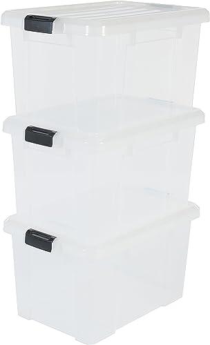 Amazon Basics 135742 Set de 3 boîtes de Rangement Power Box, Plastique, Transparent, 50 Litres