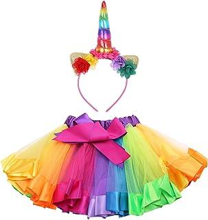 b6a59ebb796eb Alvivi Jupe Tutu en Ruban Arc-en-Ciel pour Filles Déguisement Costumes de  Ballets