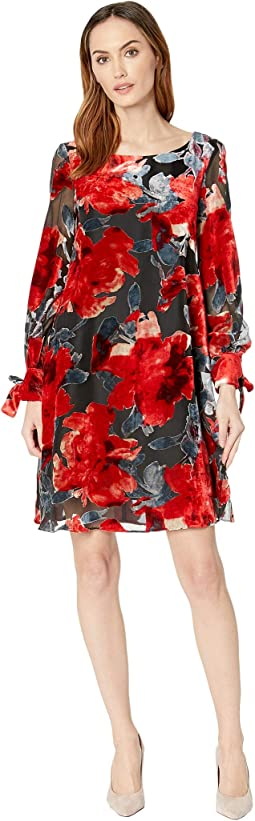 Floral Burnout Long Sleeve Shift Dress