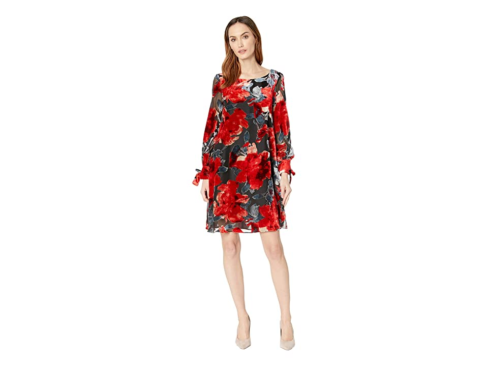 Taylor Floral Burnout Long Sleeve Shift Dress (Red/Grey) Women
