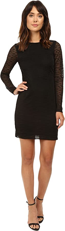 Nicole Miller - Burnout Jersey Long Sleeve Dress