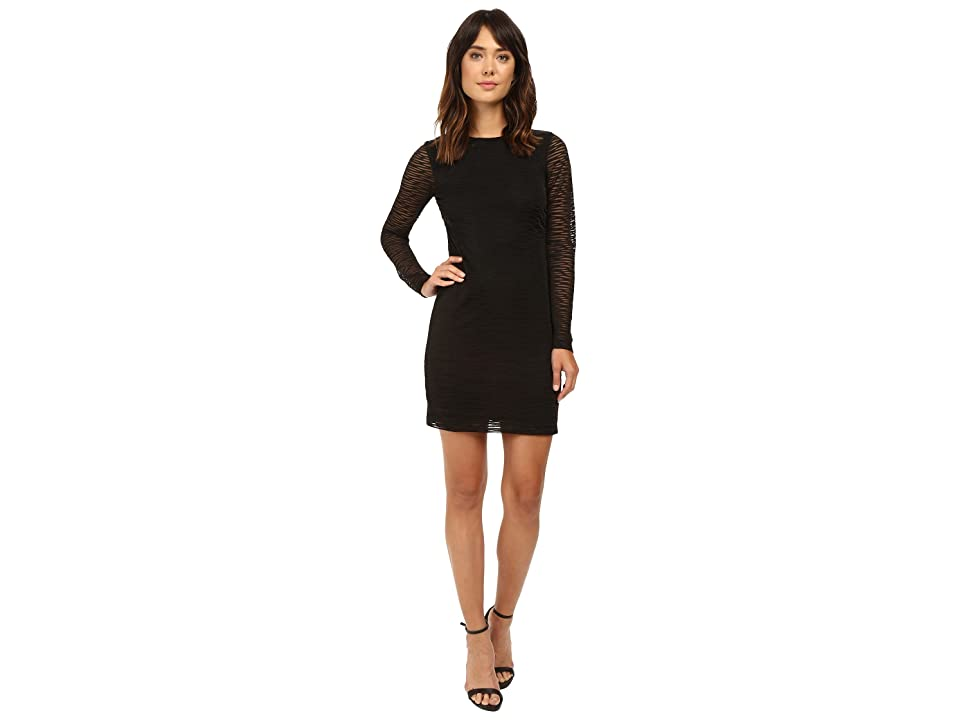 85bd74a2881a Nicole Miller Burnout Jersey Long Sleeve Dress (Black) Women