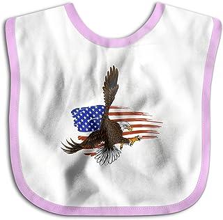 UBCATDESA American Eagle Against Flag Baby Bibs, Unisex Baby Soft Cotton Easily Clean Teething Bibs(Blue&Pink)