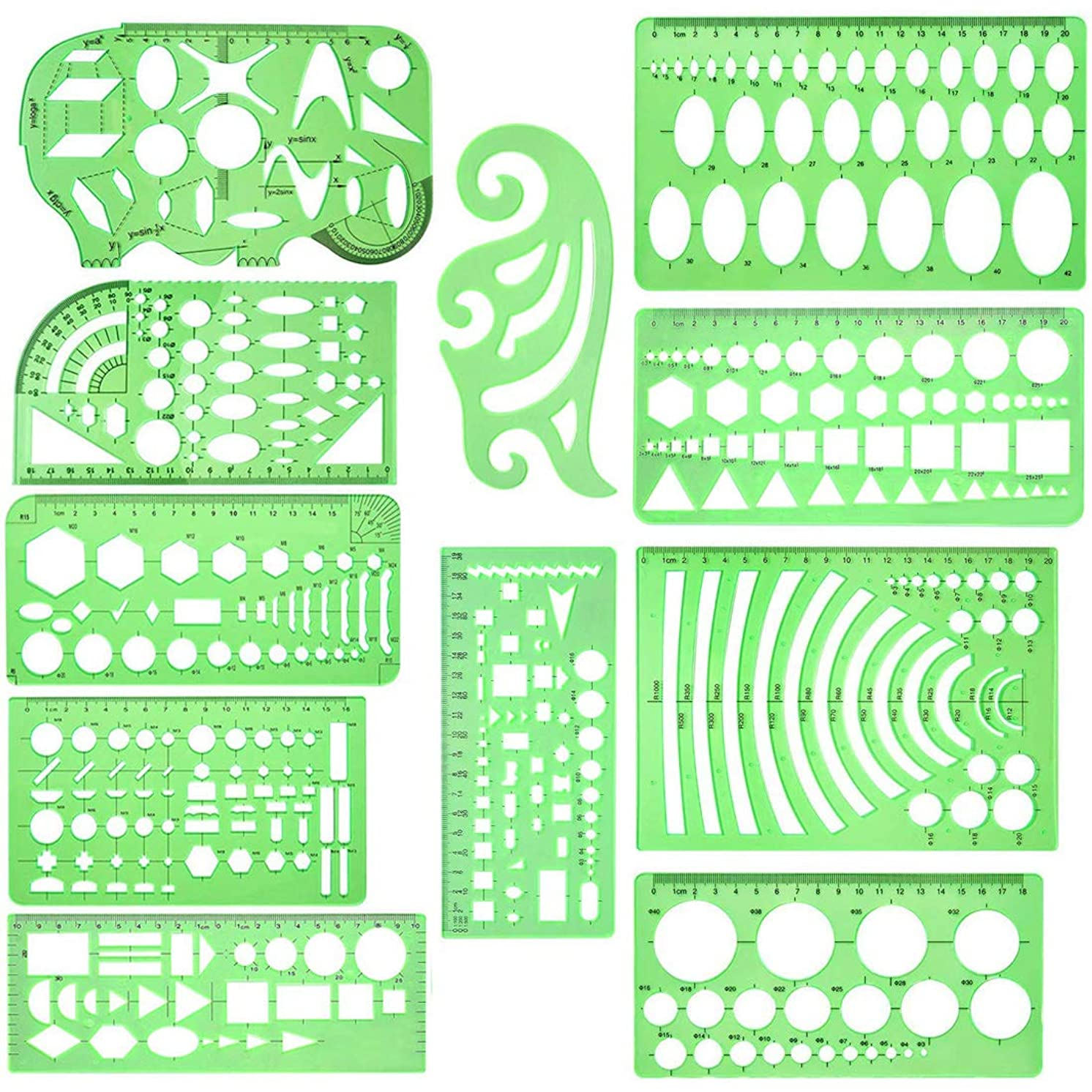 11 Pcs Geometric Drawings Templates Measuring Rulers Plastic Measuring Templates Plastic Geometry Stencils with 1 Pack Poly Zipper Envelopes for Office and School, Building Formwork, Drawings Drafting