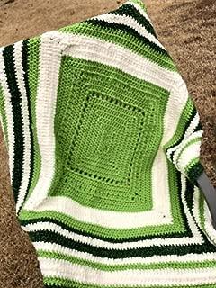 Bulky Multi Yarn Green Cream Afghan Throw