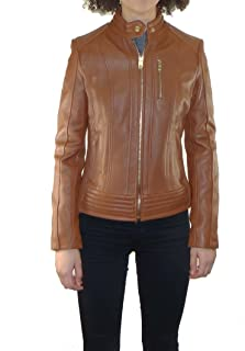 Michael Kors Women's Moto Leather Jacket with Snap Collar
