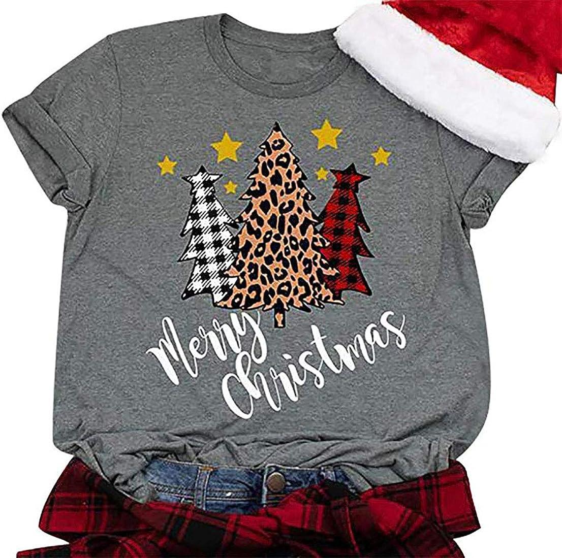 Leopard Print Christmas Shirt Long Sleeve Christmas Tree Shirt Merry Christmas Shirt