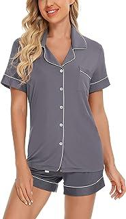 Women Pajamas Set Short Sleeve Sleepwear Womens Button Down Nightwear PJ Set with Pockets S-XXL