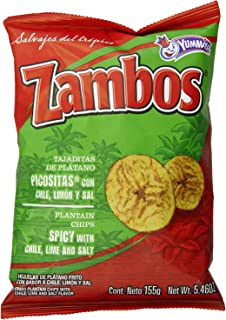 Zambos Plantain Chips: Spicy with Chili,Lime and Salt (Tajaditas de Plátano con Chile + Limón y Sal) Crunchy with spicy ta...
