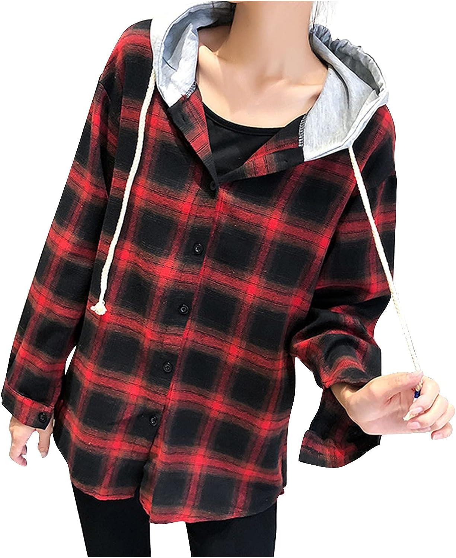 ManxiVoo Women Plaid Long Sleeve Drop Shoulder Crop Jacket Casual Hooded Button Front Outerwear Blouse Tops