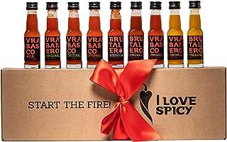 I LOVE SPICY Start The Fire Geschenkbox Scharfe Chilischote Soße Packung mit 9 x 20 ml Scharfe 1-6/5
