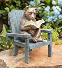 Plow & Hearth Reading Bear Outdoor Garden Statue, 6 L x 5.75 W x 8.75 H