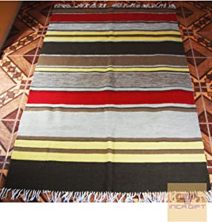 Peruvian rug genuine hand loomed rug alpaca sheep wool Peru carpet - Stripped