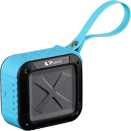 Portta Waterproof Bluetooth Speaker, 4.1 Portable Outdoor and Shower Wireless Speakers/Super Bass/12 Hour Playtime with Mic/NFC/SD Card Blue