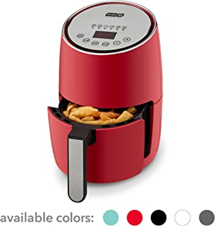DASH Compact Electric Air Fryer + Oven Cooker with Digital Display, Temperature Control, Non Stick Fry Basket, Recipe Guide + Auto Shut Off Feature, 1.6 L, up to 2 QT, Red