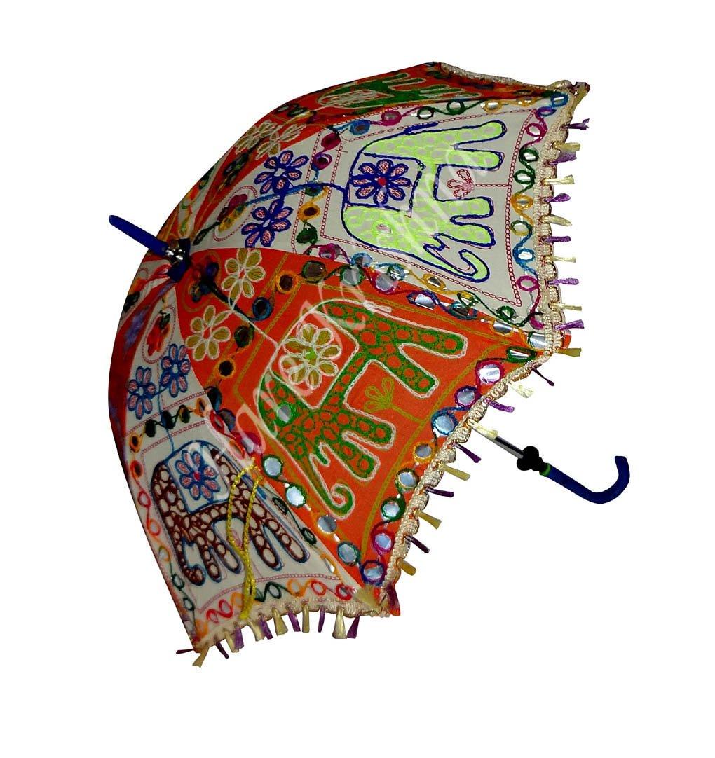 Hare Krishna Paraguas Indio Sombrilla de algodón Colorido 61 x 71 cm: Amazon.es: Hogar