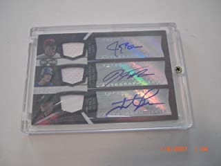 Hunter Pence Josh Hamilton Jay Bruce Game Used 3x Jersey Auto 16/27 Signed Card - Baseball Autographed Game Used Cards