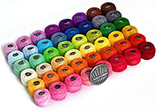 LE PAON 48 Crochet Thread Set Balls 100% Long-Staple Cotton Rainbow Colors of Size 8 Threadand Free 30 Golden Needles 48 B...