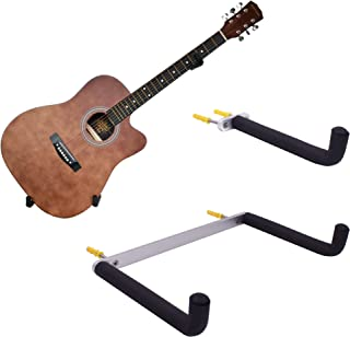 YYST Guitar Wall Mount Holder Tilt Display for Electric and Thin Body Guitars, Ukulele, Bass, Banjo at A Slanted Angle Sid...