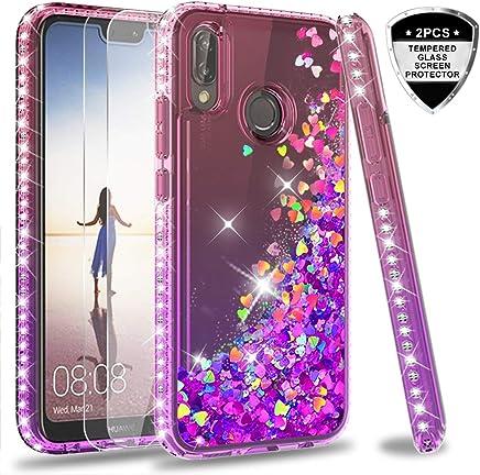 da2eac308c2 LeYi Funda Huawei P20 Lite Silicona Purpurina Carcasa con [2-Unidades  Cristal Vidrio Templado