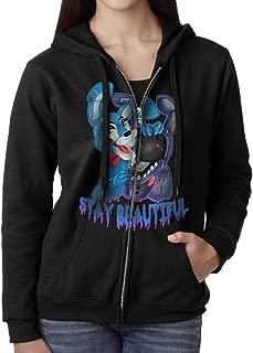 Women's FIVE NIGHTS AT FREDDY'S Zip-Up Hooded Sweatshirt Jackets Black