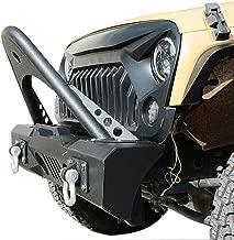LEDKINGDOMUS Stinger Front Bumper for 07-18 Jeep Wrangler JK and JK Unlimited With Fog Lights Housing and Winch Plate Black Textured