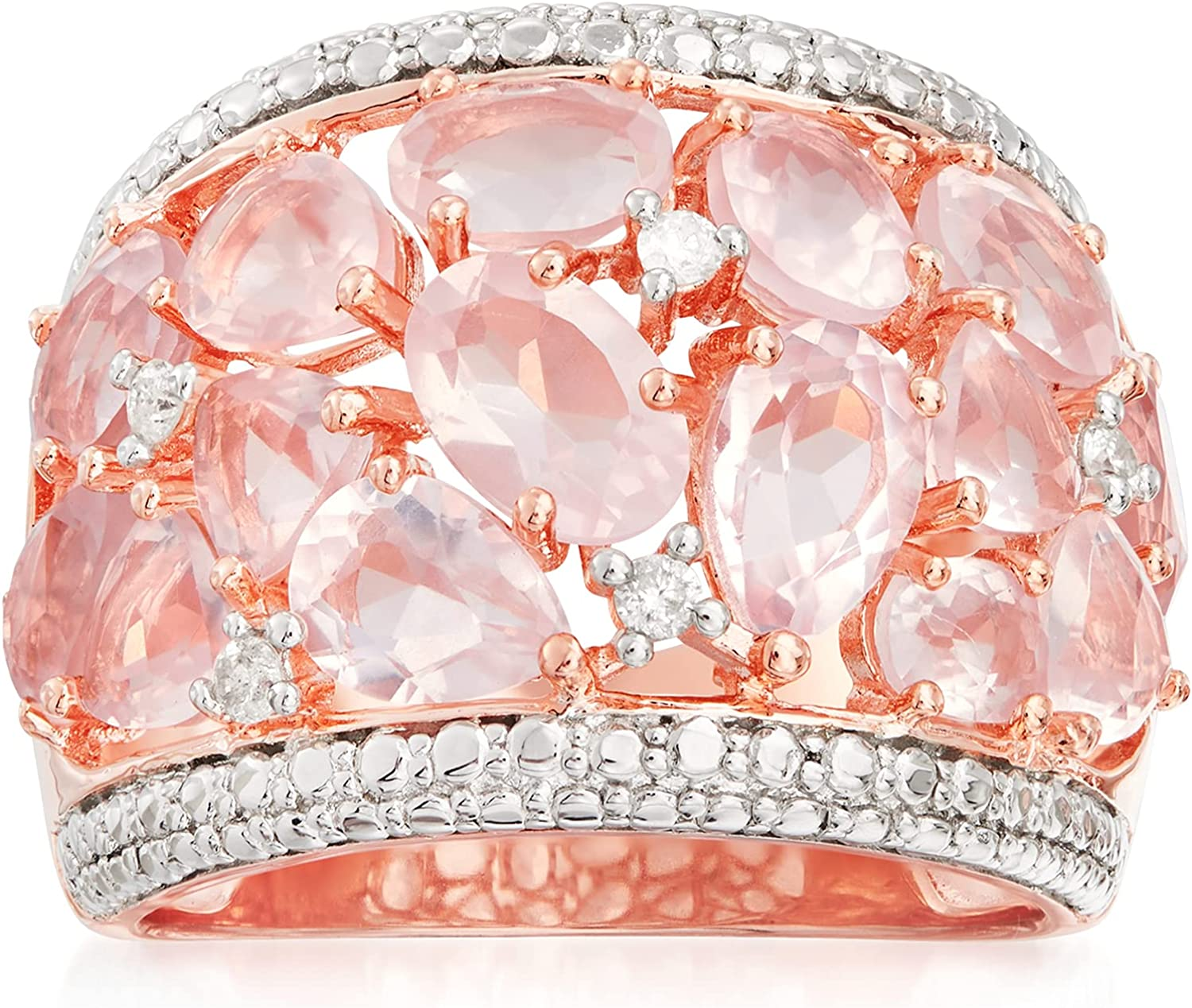 Ross-Simons 5.95 Max 89% OFF ct. t.w. Rose Quartz SALENEW very popular With Ring Dome in Diamonds