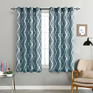 jinchan Quatrefoil Linen Curtains Flax Linen Blend Curtain Textured Lattice Moroccan Tile Print Kitchen Window Treatment Set for Living Room Geometry 50