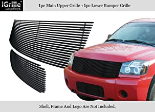 Compatible with 2004-2007 Nissan Titan Armada Black Stainless Steel Billet Grille Combo N87816J