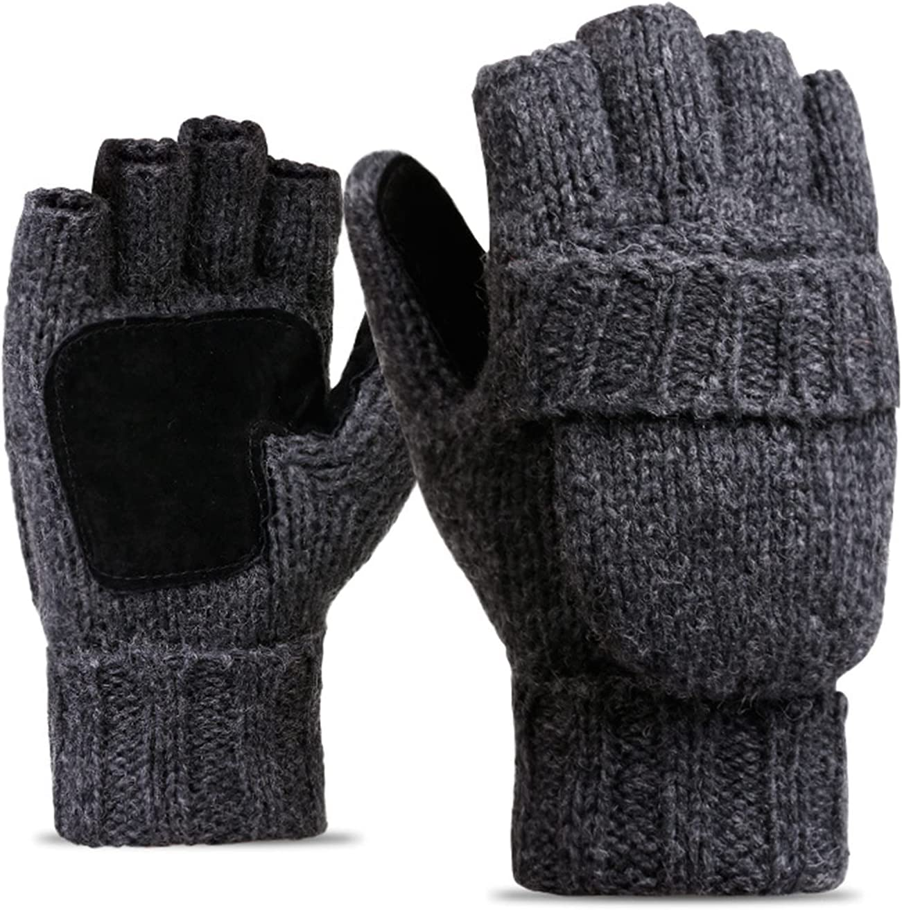 HelloCreate Winter Fingerless Clamshell Woolen Knitted Gloves Wool Mittens Warm Mitten Glove in Cold Weather for Men and Women