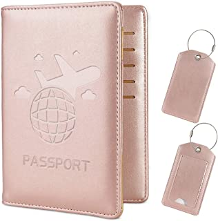 COCASES Leather Passport Holder Cover Case RFID Blocking Travel Wallet ID Card Travel Document Organizer for Women Men with Matching Luggage Tag Set - Rose Gold