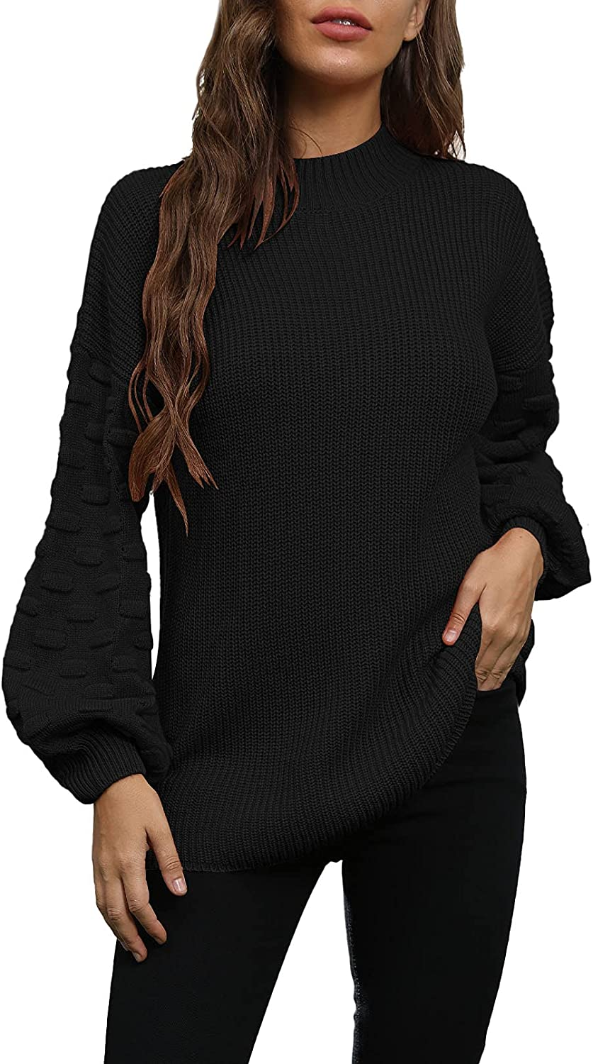 Meenew Women's Casual Loose Sweater Lantern Sleeve Chunky Knitted Pullover Tops