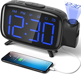 comprar comparacion ELEHOT Despertador Digital Proyector Radio Despertador Reloj de Proyección Pantalla LCD Azul y Volumen Ajustable 7 Tonos F...