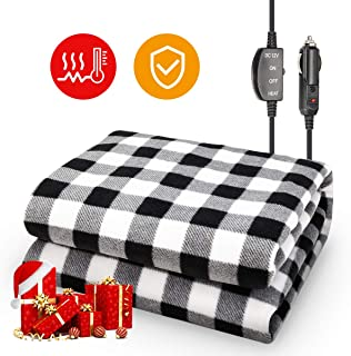 JOYTUTUS Car Heated Blanket, 12V Fleece Electric Car Blanket, Emergency Heating Throw Blanket Plugs in Cigarette Lighter, Heated Travel Blanket Pad Warm Safe Winter for Car Vehicle SUV RV, 59