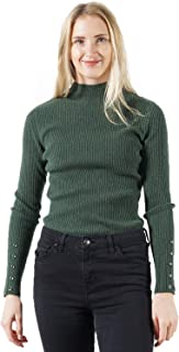 DEEBAI Women's Lightweight Mock Turtle Neck Solid Color Ribbed Pullover Knit Sweater