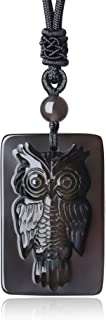COAI Unisex Obsidian Owl Necklace Pendant Zodiac Amulet