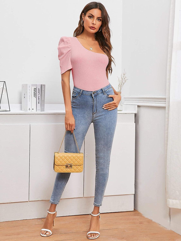 Verdusa Womens One Shoulder Puff Sleeve Ribbed Skinny Leotard Bodysuit Top