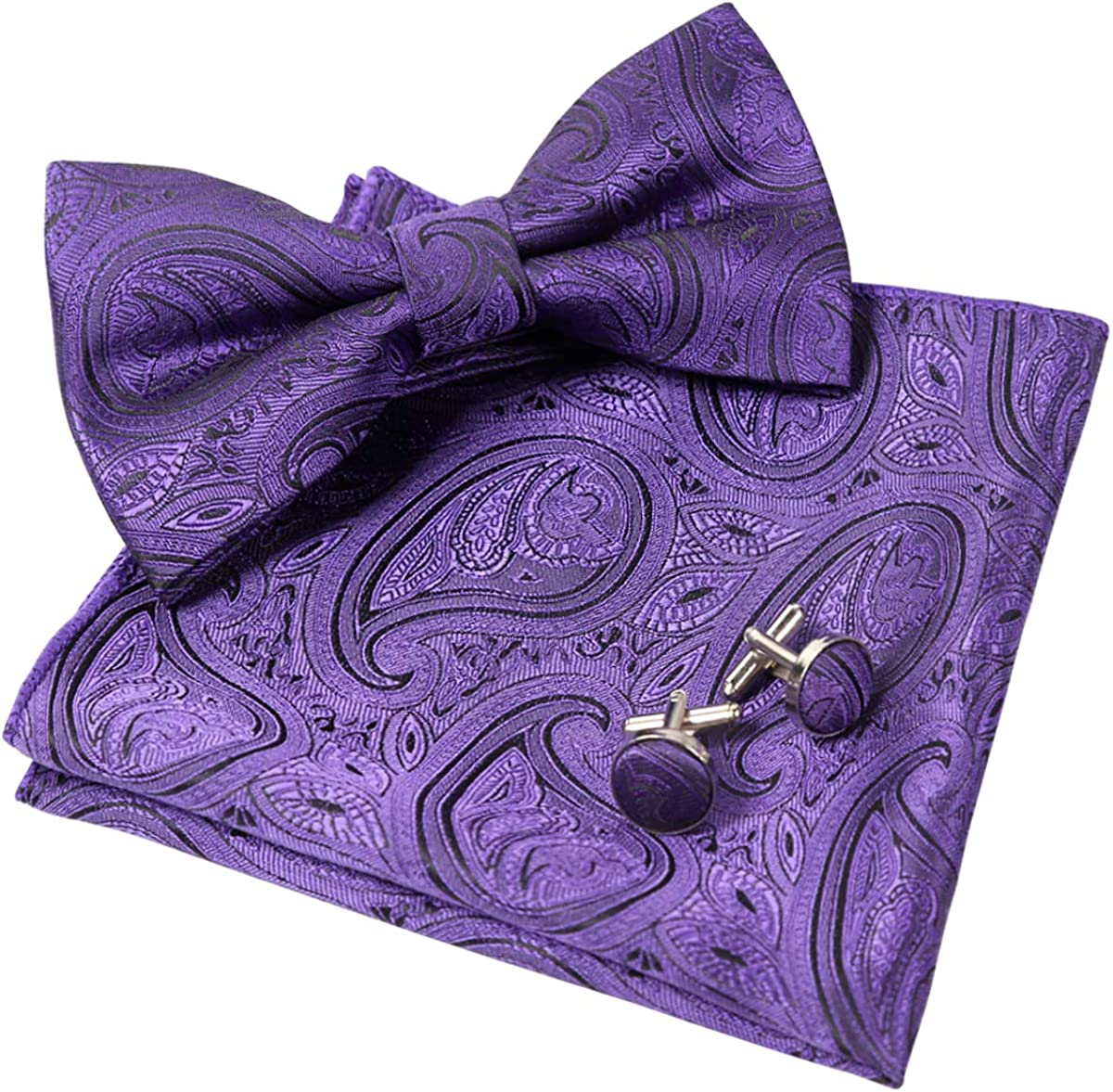 Alizeal Mens Vintage Party Bow Tie, Hanky and Cufflinks Set