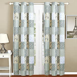 All American Collection New 4pc Floral Printed Patchwork Blue/Green Curtain Set