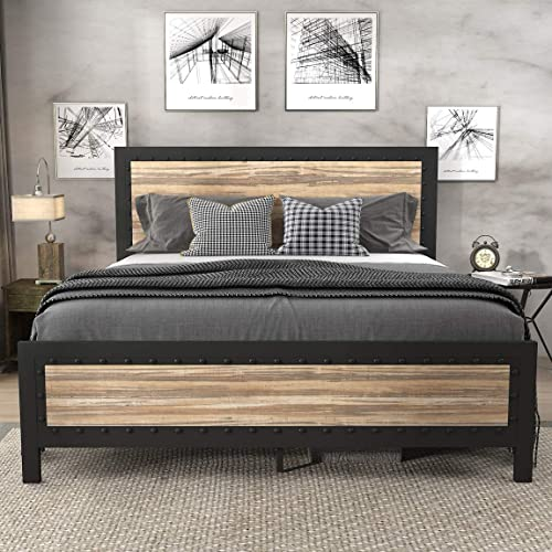 SHA CERLIN Heavy Duty Metal Bed Frame Queen Size / Wooden Headboard Footboard with Rivet / 13 Strong Steel Slats Support / No Box Spring Needed / Mattress Foundation / Easy Assembly
