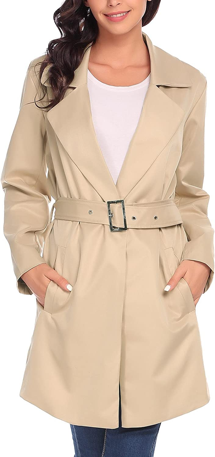 ANGVNS Women's Long Sleeve Single Button Belted Trench Coat
