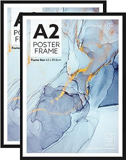 Cooper & Co. Homewares A2 Poster Photo Frames Set of 2, Black