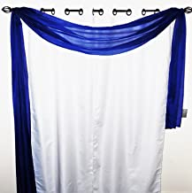 Gorgeous Home 1 Solid Decorative Navy Blue Elegant Scarf Valance Sheer Voile Window Panel Curtain 216 long Swag Topper by Gorgeous Home LINEN