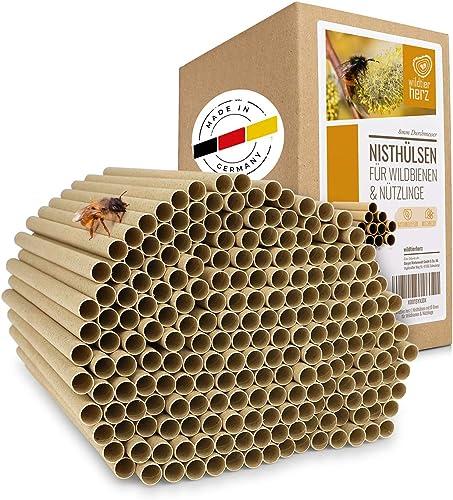wildtier herz Kit Maison d'abeille - 200 Pièces Ø 8 mm, Ruche pour Abeilles, Maison Insectes - en Carton 100% Écologi...