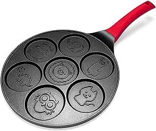 Pceewtyt Pannkakstillverkare – non-stick pannkakspanna grill panna crepe Maker 7 form pannkakor med silikonhandtag, svarta...