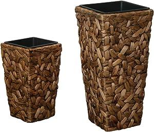 KMH®, 2er Set Pflanztöpfe aus handgeflochtener Wasserhyazinthe (#204078)