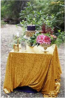 48x48-Inch Square-Sequin Tablecloth-Gold, 2019 New Arrival Sequin Table Cloth/Overlay/Cover Glitz Table Linen
