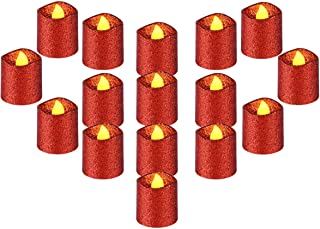 """YEHTEH Red Glitter Flameless LED Votive Candles, D1.5XH1.6"""" Battery Operated Support 100+ Hours, Pack of 16, Realistic Flickering Warm Yellow Flame, for Wedding and Holiday Decoration, Wavy Edge."""